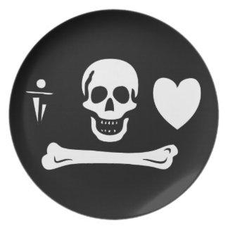 Placa de la bandera de pirata del capo de Stede Plato