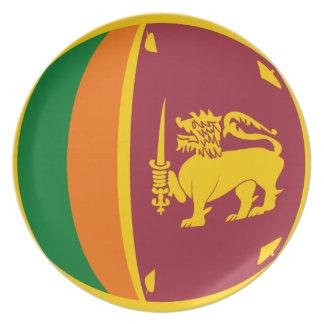 Placa de la bandera de Sri Lanka Fisheye Plato Para Fiesta