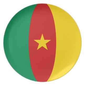 Placa de la bandera del Camerún Fisheye Plato De Cena