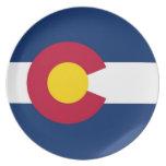 Placa de la bandera del estado de Colorado Plato De Cena