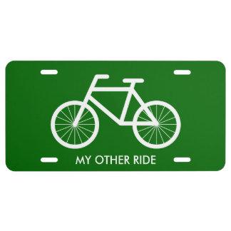 Placa de la bicicleta para los entusiastas del mon placa de matrícula