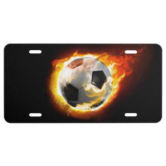 Placa de la bola de fuego del fútbol placa de matrícula