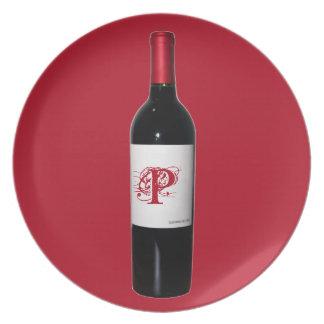 Placa de la botella de vino del monograma platos para fiestas