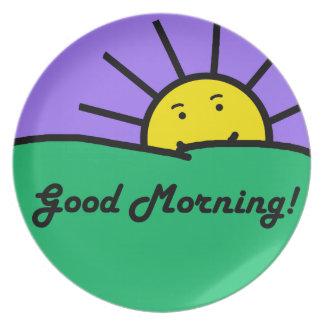 Placa de la buena mañana platos de comidas