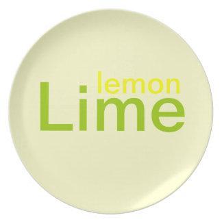 Placa de la cal del limón plato para fiesta