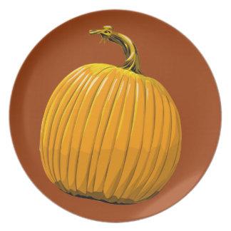 Placa de la calabaza platos para fiestas