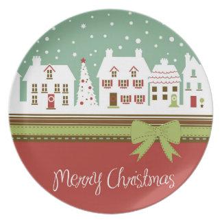 Placa de la calle del navidad Nevado Platos Para Fiestas
