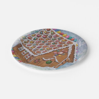 Placa de la casa de pan de jengibre del navidad platos de papel