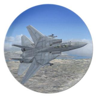 Placa de la caza a reacción de F14 Tomcat Plato De Comida