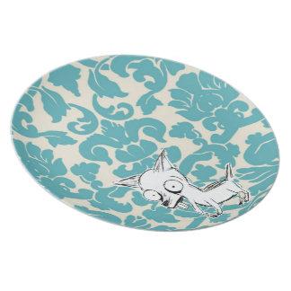 Placa de la chihuahua del damasco plato de comida