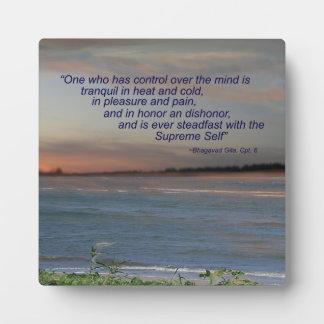 """Placa de la cita de Bhagavad Gita, """"una quién tien"""
