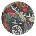 Placa de la ciudad del jazz plato de cena