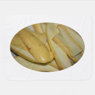 Placa de la comida amarilla cortada de la calabaza mantas de bebé