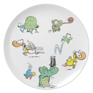 Placa de la compilación del carácter del pantano plato de cena