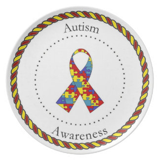 Placa de la conciencia del autismo plato