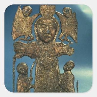 Placa de la crucifixión de San Juan, último siglo Pegatina Cuadrada