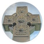 Placa de la cruz céltica plato para fiesta