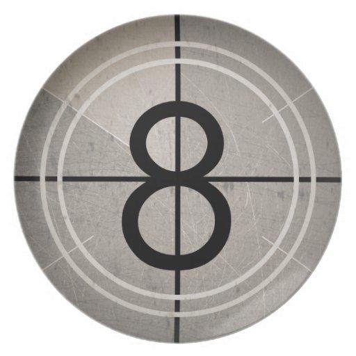 Placa de la cuenta descendiente de la película platos
