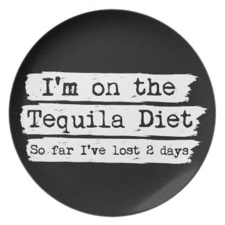 Placa de la dieta del Tequila Plato De Cena