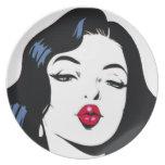 Placa de la diosa del arte pop plato para fiesta