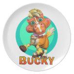Placa de la diversión con Bucky el caballo Plato