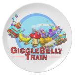 Placa de la diversión con el tren de GiggleBelly Plato Para Fiesta