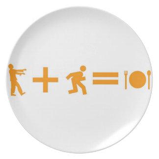 Placa de la ecuación del zombi plato para fiesta
