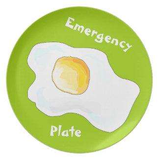 Placa de la emergencia plato para fiesta