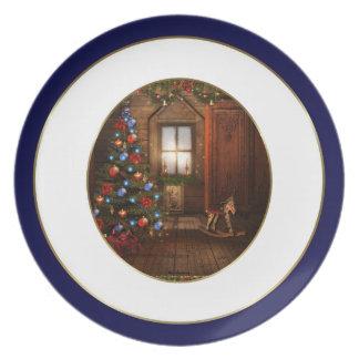 Placa de la escena del navidad del vintage plato