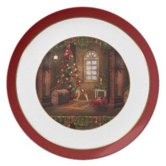 Placa de la escena del navidad del vintage plato para fiesta