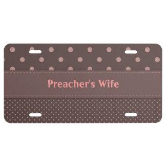 Placa de la esposa del predicador placa de matrícula