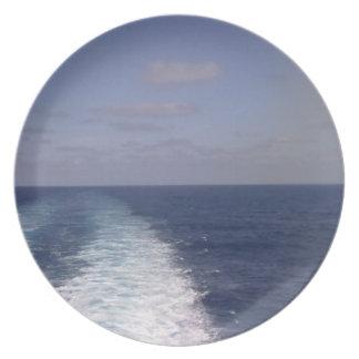 Placa de la estela del barco plato de cena