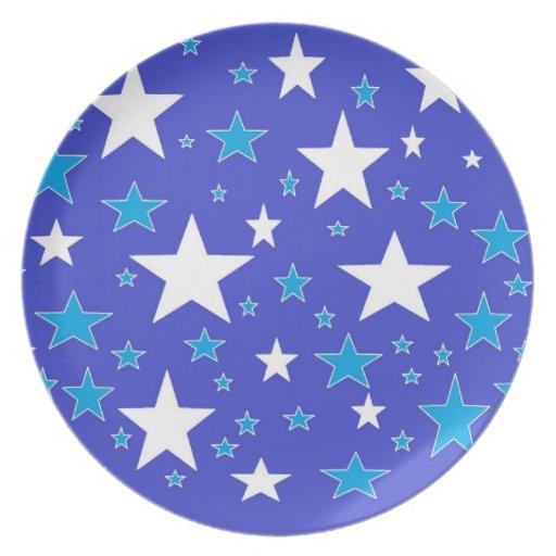 Placa de la estrella azul plato de cena