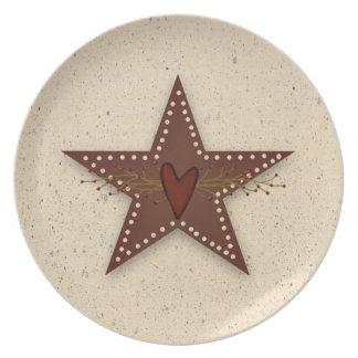 Placa de la estrella de la lata plato de comida