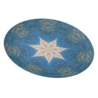 Placa de la estrella del oro plato de cena