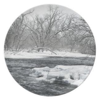 Placa de la exhibición de las orillas del río del plato para fiesta