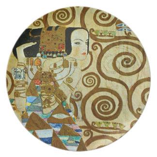 Placa de la expectativa de Gustavo Klimt Plato De Cena