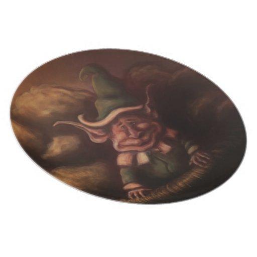 placa de la fantasía del gnomo de la patata plato para fiesta