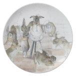 Placa de la fiesta de Navidad de los conejos de Be Plato