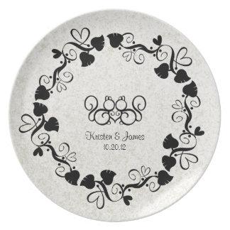 Placa de la firma del boda del amor de la ardilla platos de comidas