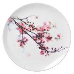 Placa de la flor de cerezo platos para fiestas