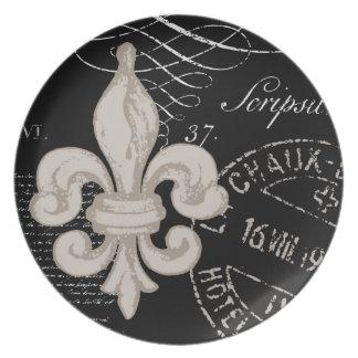 Placa de la flor de lis del vintage… platos para fiestas