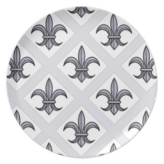 Placa de la flor de lis (modelo intrépido - plata) plato para fiesta