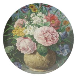 Placa de la flor del vintage plato