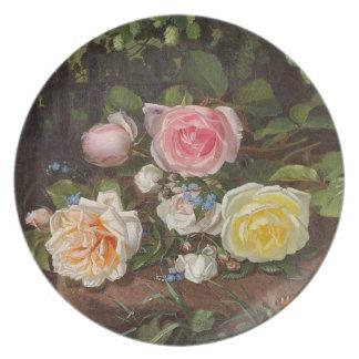 Placa de la flor del vintage plato para fiesta
