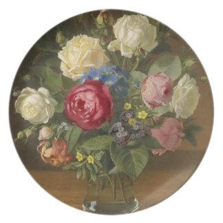 Placa de la flor del vintage platos