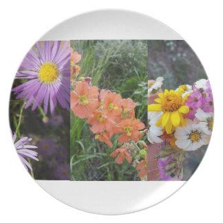 placa de la flor salvaje platos de comidas