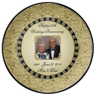 Placa de la foto de la porcelana del aniversario plato de cerámica