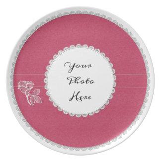 Placa de la foto del cuero y de la melamina del co platos para fiestas