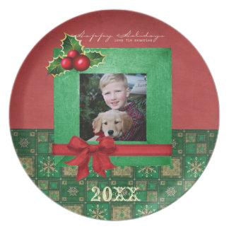 Placa de la foto del navidad platos